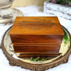 Vintage Art Deco Wood Trinket Jewelry Box